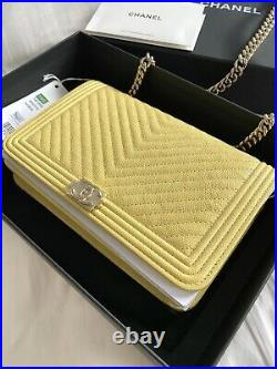 Chanel Caviar Chevron Quilted Boy Wallet On Chain Yellow. Authentic! Ships Fast