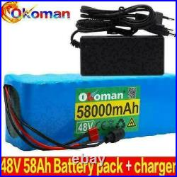 E-bike Battery 48v 58000mah 1000w 13s3p Lithium Ion With Bms + Charger New 2020